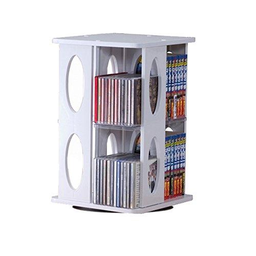 回転式CD・DVDタワー_ホワイト_パソコン_整理整頓